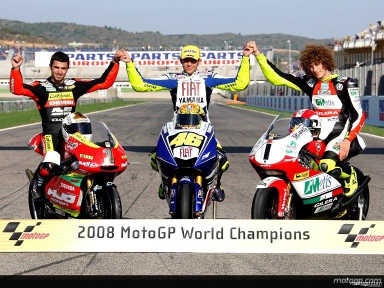 2008 GP Valencia - Valentino Rossi, Marco Simoncelli e Mike di Meglio