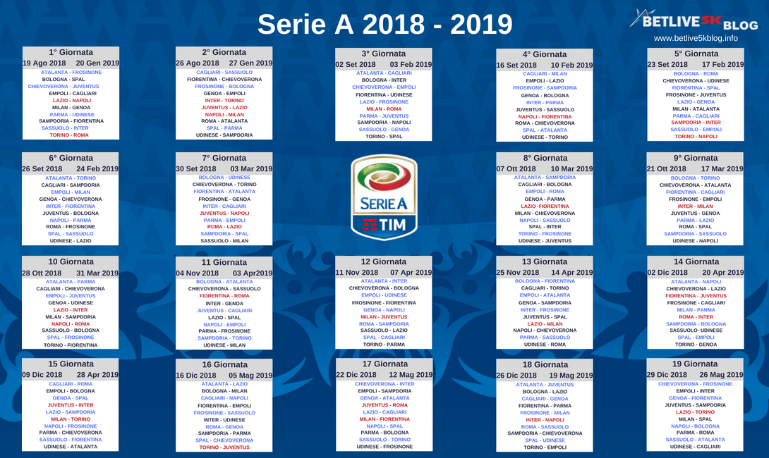 Calendario Partite Juve 2019.Serie A Stagione 2018 19 Le Giornate Betlive5k It Blog