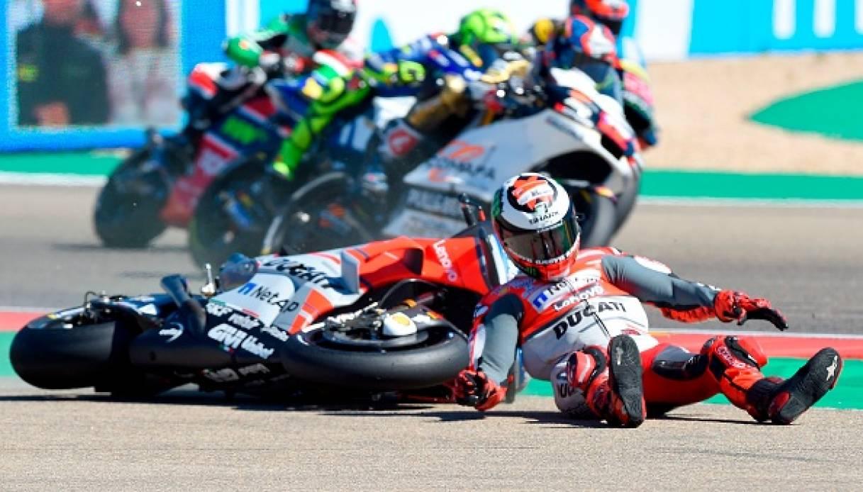 motogp-gp-aragon-2018-vince Marquez, Lorenza a terra