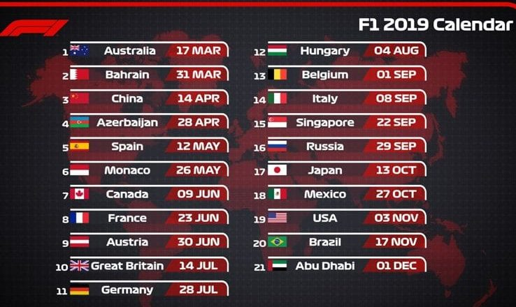 Formula 1 Mondiale Calendario 2019 | Betlive5K IT Blog