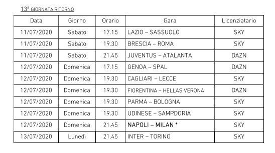 Serie A nuovo calendario orari date