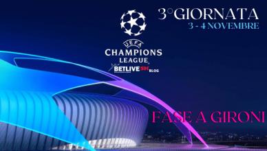 3°GIORNATA CHAMPIONS LEAGUE 3-4NOVEMBRE BETLIVE5K