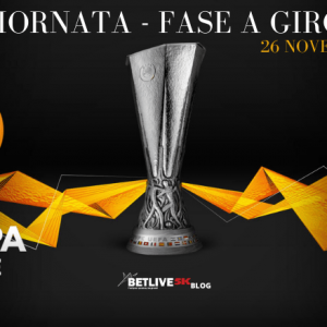 4°GIORNATA - FASE A GIRONI EUROPA LEAGUE 26 NOVEMBRE 2020 BETLIVE5K